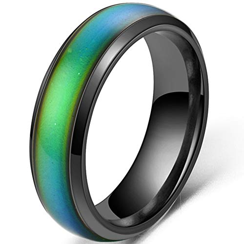 4mm Stainless Steel Temperature Sensative Color Changing Wedding Band Mood Ring (Black, 7)