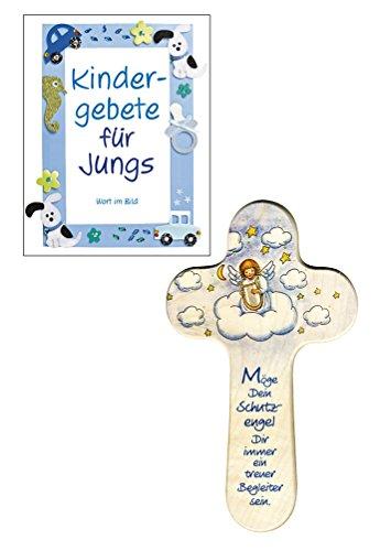 888 016 Holzkreuz Engel auf Wolke mit Gebetsheft für Jungs