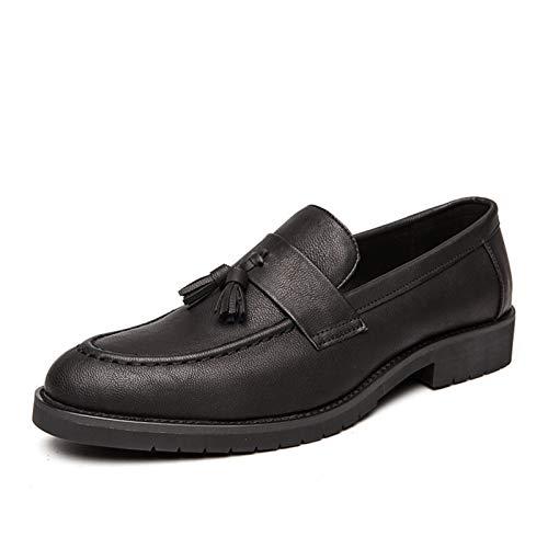Best-choise Borlas Loafer para Hombres Redondo Moc Toe Stitching Block Tacón Flexible Suela de Goma Suela Sólido Cuero sintético Slip-Ons Mejor elecciónBrillante (Color : Negro, tamaño : 43 EU)