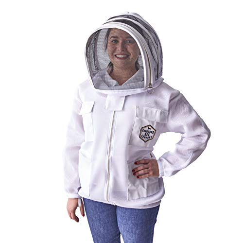 Ventilated Mesh Beekeeping Jacket Easy Open Veil with New Fencing Hood Design and Breathable Double Layer Foam Mesh for Beekeeper Comfort (Medium)