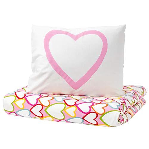 Webeingstore - Juego de cama Ikea Vitaminer HJÄRTA con funda nórdica y funda de almohada, diseño de corazones, 150 x 200 / 50 x 80 cm