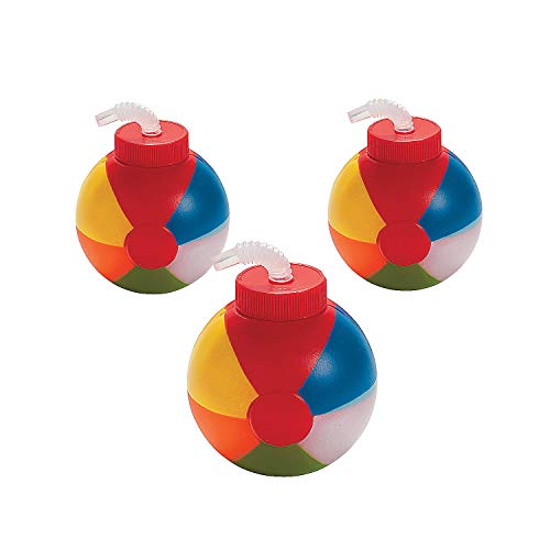Beach Ball Cups with Straws (set of 12) Party Supplies