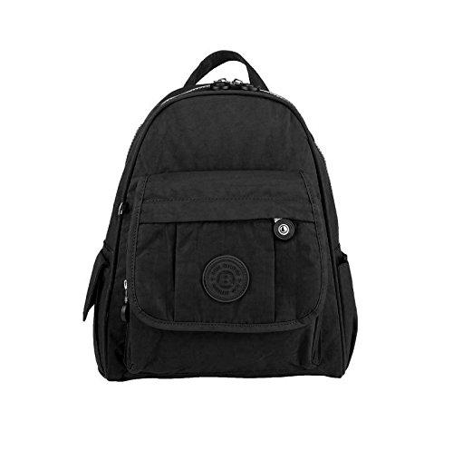 OBC Unisex Kinder & Erwachsene Bag Street Rucksack Tablettasche Crinkle Nylon Schultertasche Tasche Kinderrucksack (Schwarz)