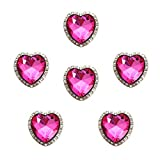 MarryAcc Bling Crafts Heart Shape Conchos Heart Rhinestone Conchos with Screws Back(Rose Red, 6PCS)