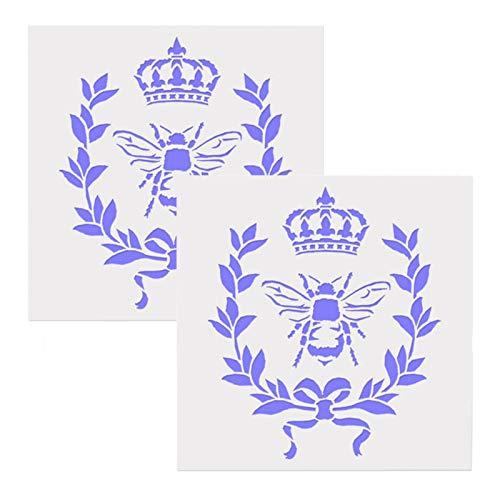 DUBENS 2 plantillas de abeja francesa con corona y laureles, para decoración del hogar, color rústico, corona de madera, plantilla de Mylar