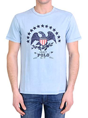 Ralph Lauren Mod. 710806188 T-shirt, ronde hals, custom fit, heren, blauw