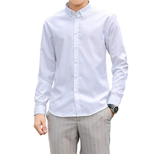 Camisa Estampada a Rayas para Hombre, Ajustada, Transpirable, con Botones, Trabajo de Oficina, Informal, de Negocios, Camisa de Manga Larga para Todas Las Estaciones Medium