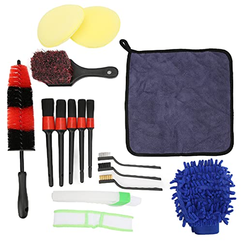 Fydun Wheel Detailing Brush Set, 16pcs/Set Detailing Brushes Wheel Scrub Cleaning Tools for Car Air Vents Engine Compartments Exhaust Pipes