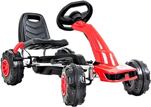 HyperMotion - Go-Kart a pedali per bambini dai 3 ai 6 anni, 2 freni a mano sulle ruote posteriori, 4 ruote in metallo + plastica, rosso