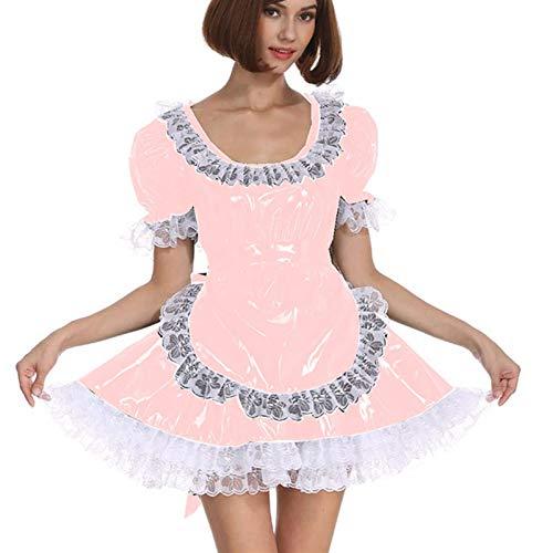 Cosplay Blanco Lace Distribuidor Cosplay Costume Dama Manga Corta Lolita Mini Vestido Precioso Vestido de Lujo de Cosplay con Delantal Traje mucama (Color : Lotus Root Pink, Size : XXL)