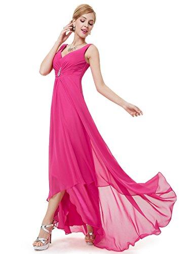 Ever-Pretty Damen V-Ausschnitt Chiffon Lange Abendkleider Größe 48 Hellrosa
