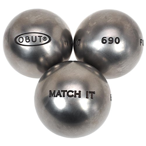 Obut. Match it acero inoxidable 72 mm: metal, bolas de petanca, (plateado metálico), 710g