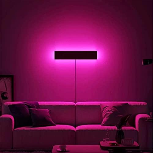 ZMLG RGB Lámpara De Pared LED Interior Aplique De Pared Regulable Con Control Remoto, Iluminación Ambiental Colorida Con Cable De Enchufe, Iluminación Negra Para Dormitorio Sala De Estar,40cm