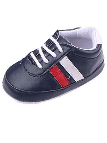 YICHUN Bébé Chaussures de Premier Pas Chaussures Souples de Loisir Chausson Rayure (Longueur de Semelle:11CM, Bleu Foncé)