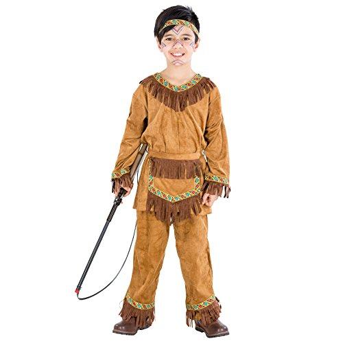 TecTake dressforfun Jungenkostüm Indianer | Kostüm mit vielen Fransen und tolle Bordüren | inkl. Haarband und Bindegürtel (5-7 Jahre | Nr. 300529)