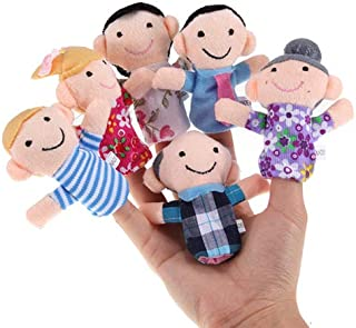Aland 6Pcs/Set Baby Kids Family Finger Puppets Educational Story Game Hand Toys Plush Finger Toy