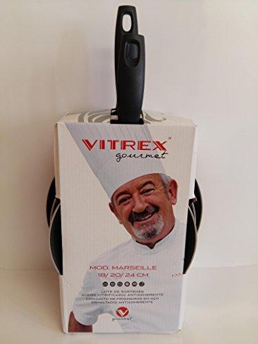 VITREX 71SALOVIGOR-Lote de 3 Piezas 18/20/24 Gourmet de Acero esmaltado Antiadherente 2 Capas inducción Modelo Marseille ROJA, Metal, Rojo, 24 cm