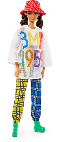 Barbie BMR1959 Fully Poseable Fashion Doll (Brunette, ~12-inch) Wearing Mesh T-Shirt, Plaid Joggers and Bucket Hat