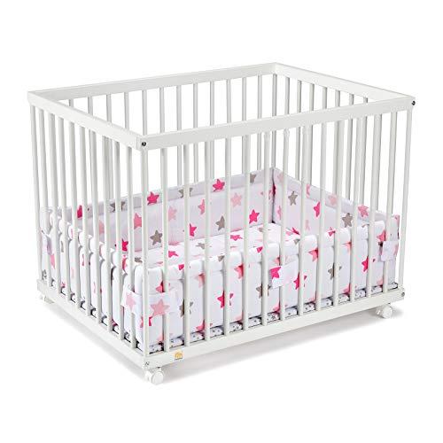 FabiMax Laufgitter 75x100 cm mit Laufgittereinlage rosa Sterne auf weiß, stufenlos höhenverstellbar, Parkettrollen, Buche, weiß lackiert