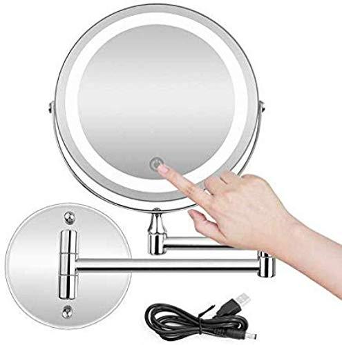TF-Bunix Doppelseitig beleuchteter Kosmetikspiegel zur Wandmontage, Metall, verchromt, 10fache Lupe, normaler planarer Spiegel, Touchscreen, USB-Akku