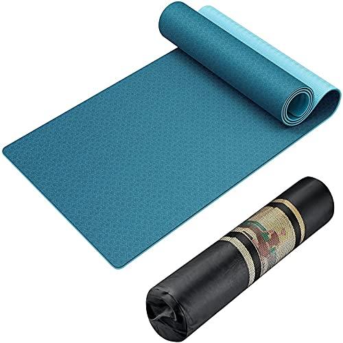 Esterilla de yoga, antideslizante para mujeres y hombres, TPE Eco Friendly Pilates Ejercicio Mat con bolsa de transporte conveniente, material antisudor Fitness Gym Mat (color: verde/azul claro)