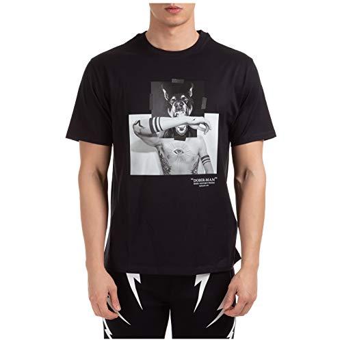 Neil Barrett Hombre Camiseta Dober-Man Nero