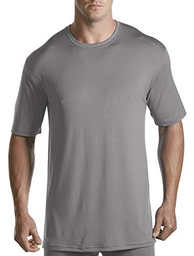 Harbor Bay by DXL Big and Tall Performance Crewneck T-Shirt, Grey, 2XL-Tall
