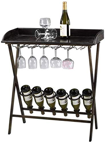 Leifeng Tower Estante clásico LNDDB para vino con soporte de cristal, de metal, negro, moderno, para restaurante, cocina, bar, 6 botellas