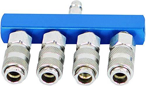 Scheppach 7906100725 Druckluftschnellkupplungen-Set 4-Wege, blausilber