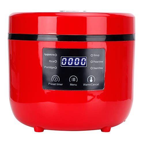 2L Rice Cooker, Round Intelligent Electric Desugar Rice Cooker Portable Travel Food Steamer Personal Size Cooker for 1-2 People - For Home Kitchen Cooking Soup, Rice, Stews & Oatmeal(red)