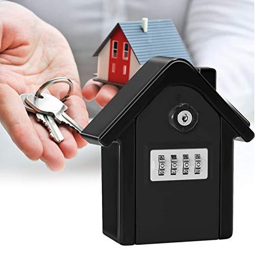 Caja de llaves con contraseña antirrobo para colgar en la pared Kit de caja de almacenamiento de llaves con contraseña Caja de seguridad pequeña Caja de seguridad para llaves para escuelas(black)
