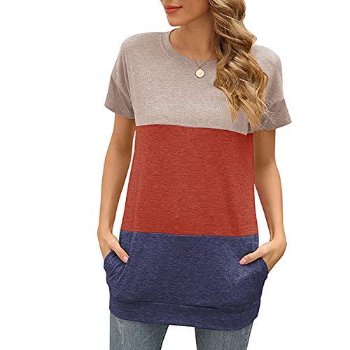 meybecci Dames ronde hals T-shirt kleurblok korte mouwen bovenstuk blouse losse zomer tuniek top