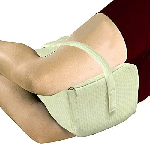 Kuber Industries Memory Foam Orthopedic Knee Support Leg Rest Pillow for Side Sleepers, for Relief from Sciatica, Back Pain, Leg Pain, Pregnancy, Post Surgery, Hip & Joint Pain (Cream)-CTKTC39222