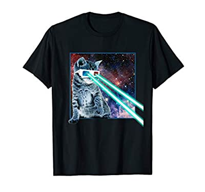 Laser Eyes Space Cat | Funny Kitty 3D glasses T-Shirt Gift T-Shirt