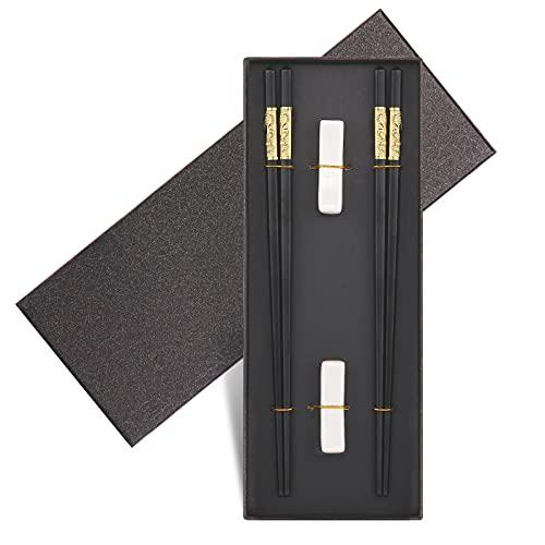 Youda 2 Paia di Bacchette di Alta qualità in Lega, Set Regalo di Bacchette Cinesi Drago Premium, Stile Classico Riutilizzabile