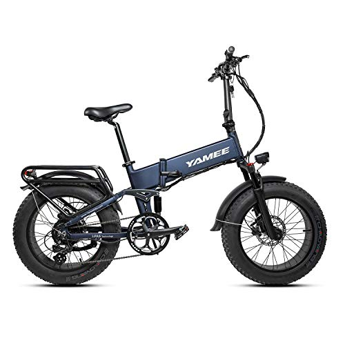 R RATTAN YAMEE 48V 750W Electric Bike for Adults 750S Folding Bike Ebikes 48V 14.5AH Samsung Lithium Battery 20inch 4.0 All Terrain Off-Road Fat Tires for Snow Mountain Bikes 8 Speed Shifter Ebikes