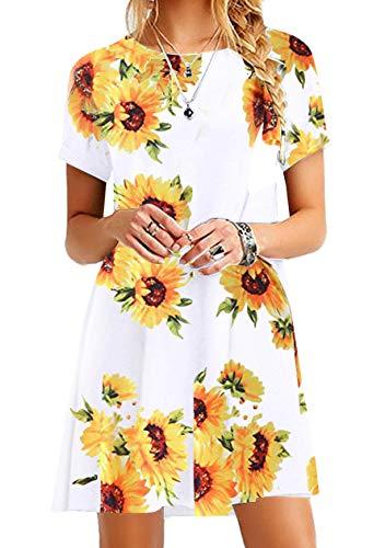 OMZIN Sommerkleid Damen Rundhalsausschnitt Strandkleider Gedruckt A-Linie Kleid Mini Kleid Weiße XL