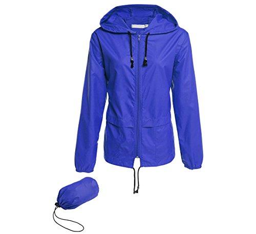 Hount Ladies Waterproof Windbreaker with Hood Travel Rain Jacket for Womens Windbreaker (M, Royal blue)