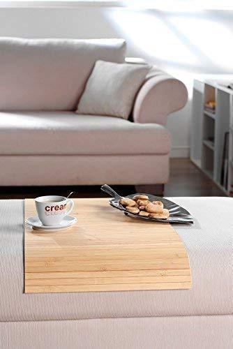 Couchablage aus massivem Bambus, Pure ca 20x40 cm Flexablage Lehnenschoner Hockerablage Tablett Couch Sofa Butler Armlehne Ablage Hocker Longchair Made in Germany