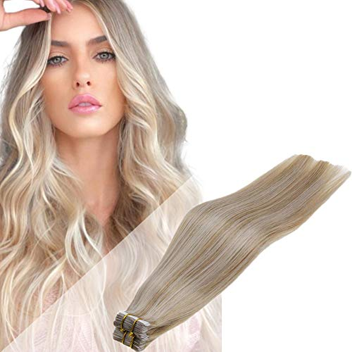 LaaVoo Tape in Hair Extensions Double Side Glue in Hair 16 Inch 50g Skin Weft Tape on Hair Extensions Brazilian Human Hair Light Golden Brown and Light Blonde Double Sided with Strong Glue Hair