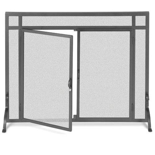 Affordable Flat Fireplace Screen w Doors in Iron Finish (44 in. Width)
