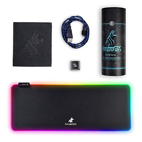 RGB Gaming Mouse Pad ANUBISGX, Best XL Light Up Oversized Computer Gaming XL Desk Mat, 10 Type Glowing LED Pad, Large Waterproof Extended Mousepad Surface, Black Non-Slip RBG Precision 31.5 x 11.8 in