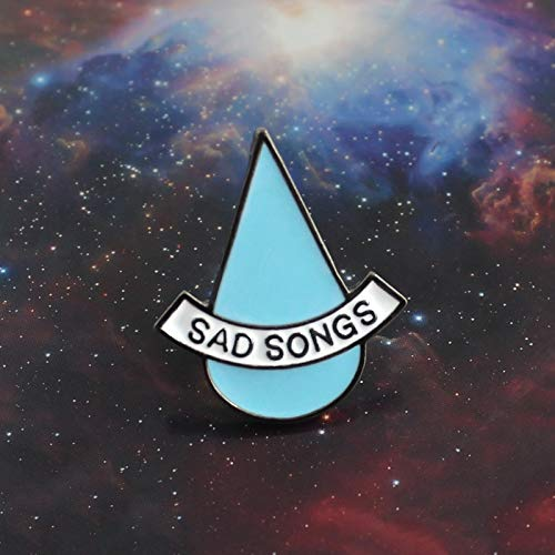 QISKAII Canciones tristes Broche Gota de Agua Azul Lágrimas tristes Pin de Esmalte Simple Camiseta de niño Niña Escudo Mochila Insignia Mujeres Amigos Accesorios Regalo