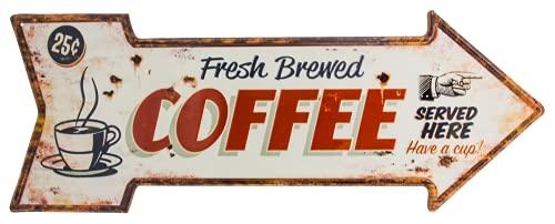 50 x 19 cm - großes Kaffee Blechschild - Retro Vintage Deko Blechschild, Wandschild, Türschild, Küchen-Schild