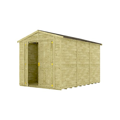 Project Timber 12 x 8 Pressure Treated Windowless Grandmaster Wooden Garden Shed Traditional Apex Gable Double Door 12FT x 8FT