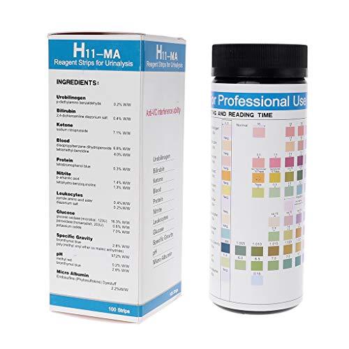 siwetg H-11MA Urin-Teststreifen, reaktiv, für 11 Urin-Analysen mit Test, Anti-VC, Urobilinogen, Bilirubin Keton, Blutprotein, etc.