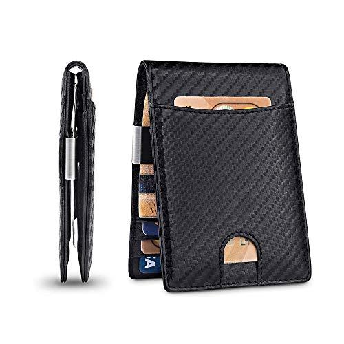 AIWOGEP Billetera RFID para hombre, billetera con billetera, tarjetero, ventana de identificación, billetera de cuero de fibra de carbono con caja de regalo