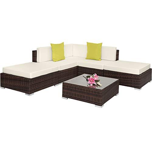 TecTake 800888 Conjunto ratán para la terraza, Tresillo para el Patio, Muebles de ratán sintético para Exterior, Mobiliario de jardín (marrón-Mezcla)