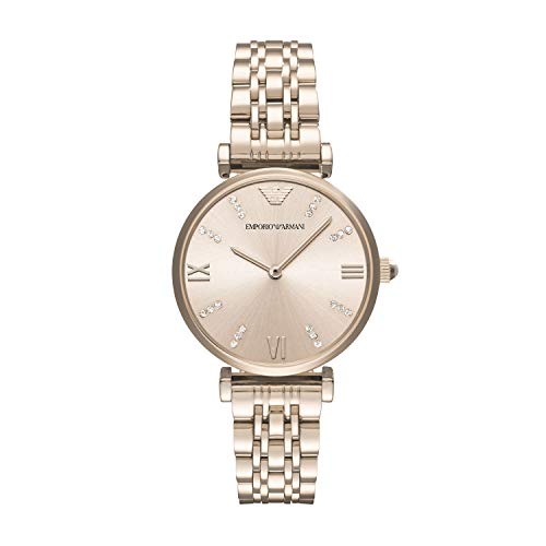 Emporio Armani Women's Dress Watch Quartz Stainless-Steel Strap, Pink, 14 (Model: AR11059)