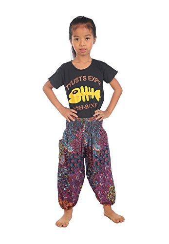 Lofbaz Baby Hippie Harem Kind Retro Bunte Pfau Boho Hose Rosa Größe 0-3M